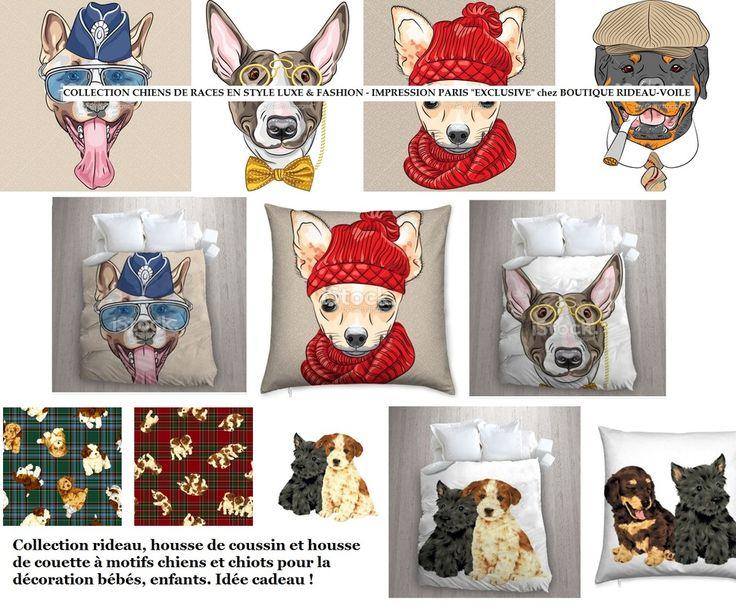 tissu personnalis ameublement avec motif petits chiens et. Black Bedroom Furniture Sets. Home Design Ideas