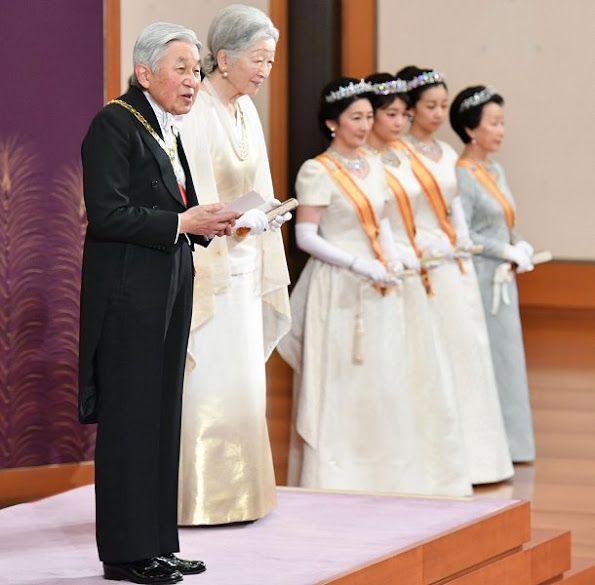 Newmyroyals:  New Year's Reception, Tokyo, January 1, 2017-Emperor Akihito, Empress Michiko, Princess Kiko, Princess Mako, Princess Kako and Princess Hanako