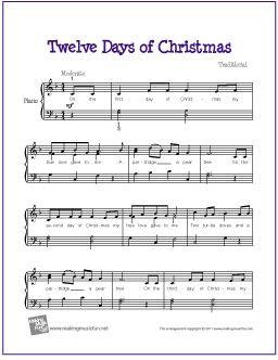 Free Sheet Music for Easy Piano - http://makingmusicfun.net/htm/f_printit_free_printable_sheet_music/twelve-days-of-christmas-piano.htm