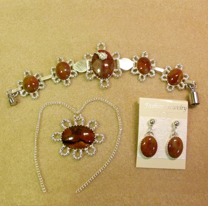 Custom made, one of a kind, Petrifed wood and Silver, Bracelet, Earrings and Necklace Jewelry set. Hand crafted by Kathy Stewart - Glam N Glitter Eclectic Jewelry.