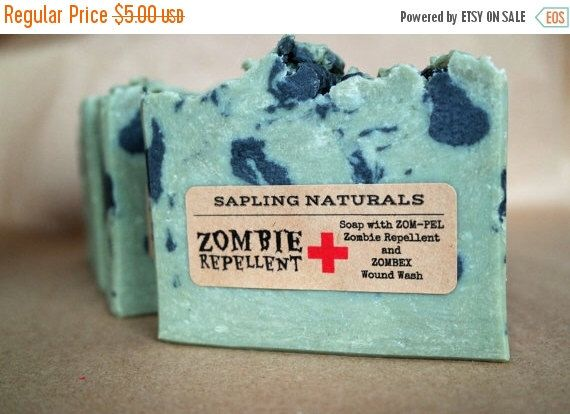 Zombie Repellent Soap - great gift for men, nerds, survivalists by saplingnaturals on Etsy https://www.etsy.com/ca/listing/121297908/zombie-repellent-soap-great-gift-for-men