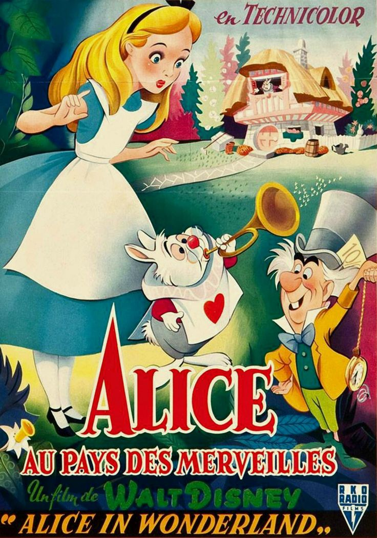 VINTAGE BLOG - French poster for Alice in Wonderland - Disney version, 1951