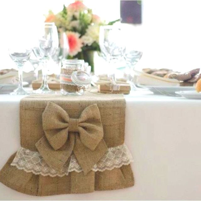 pinterest diy burlap hair bows | DIY burlap bow with lace table runners - thanks to @Kathleen S S S S ...
