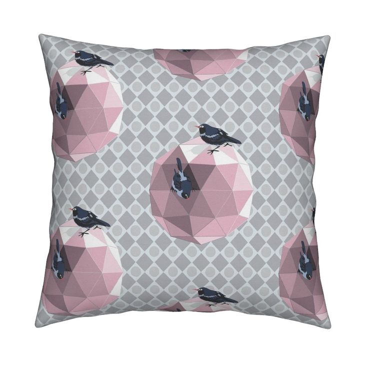 Catalan Throw Pillow featuring Geodesic_Birdhouse_pink by colour_angel   Roostery Home Decor