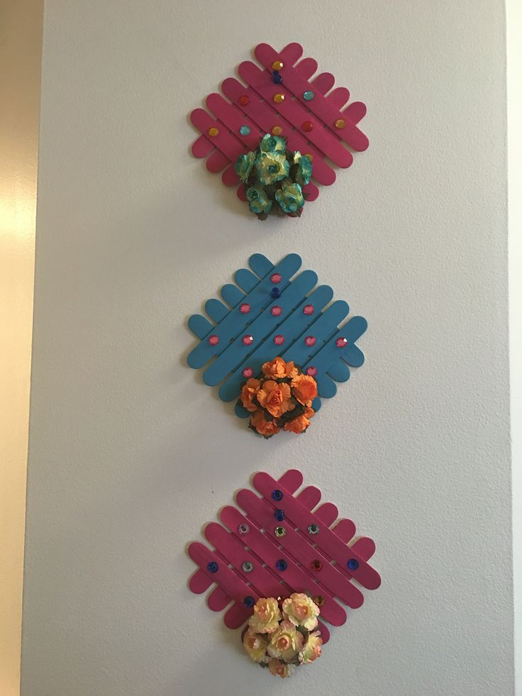Wall art using craft sticks - jumbo sized ice cream sticks