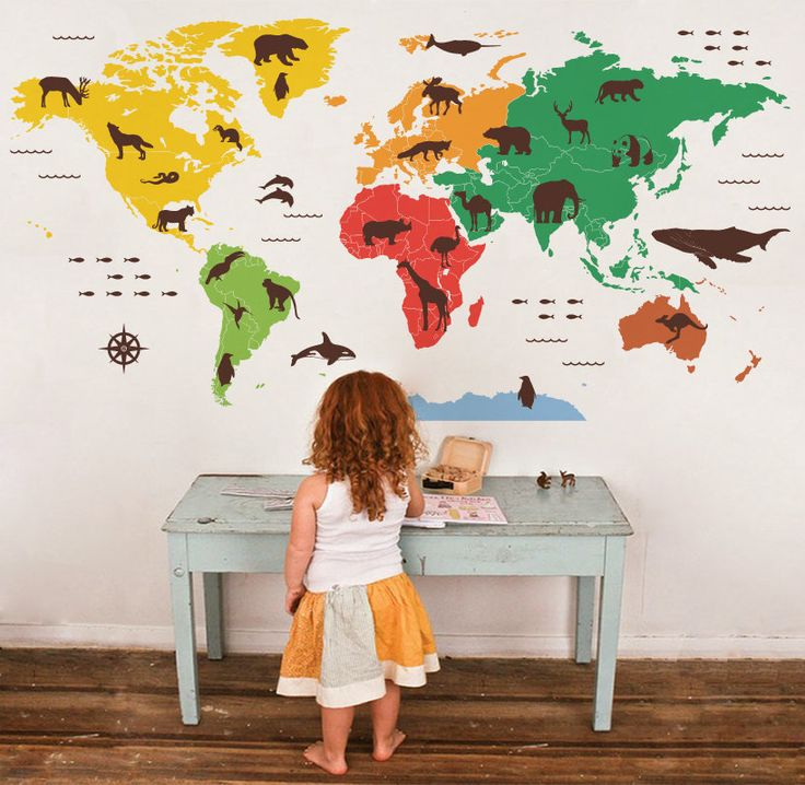 Animal outline counties world map wall decal Kids by WorldMaps, $178.00