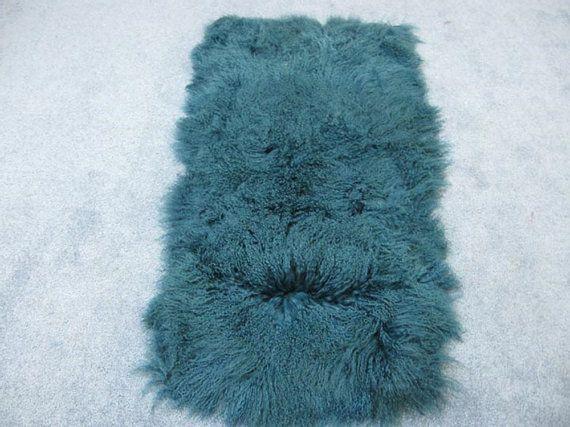 Dyed Tibet Lamb Plate: Teal Blue  lambskin rug throw