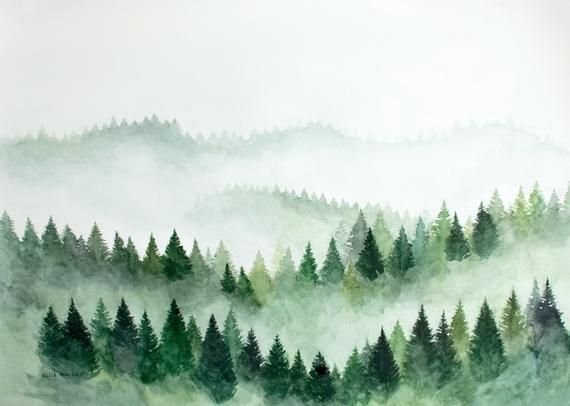 Original Watercolor Painting Fog Watercolor Forest Watercolor