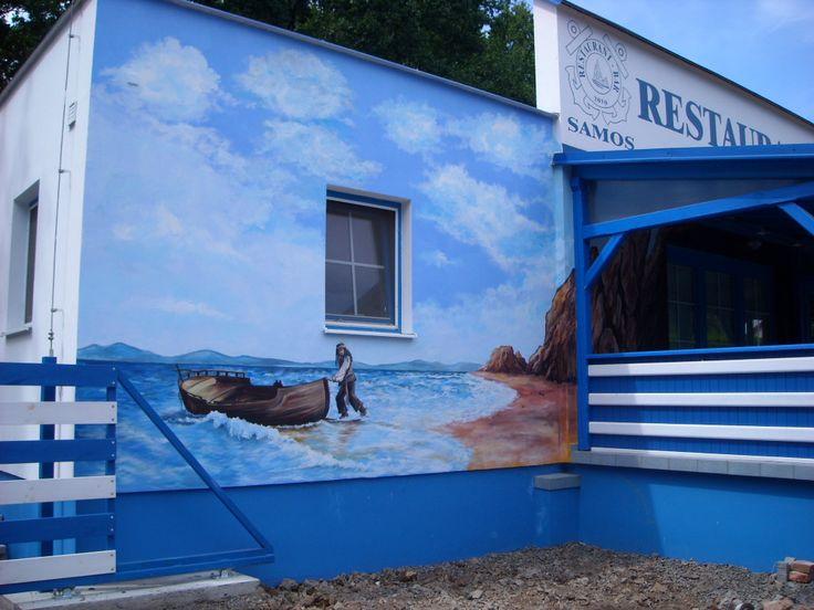 Nástěnná malba - restaurace Samos Klánovice - 480 x 400 cm.