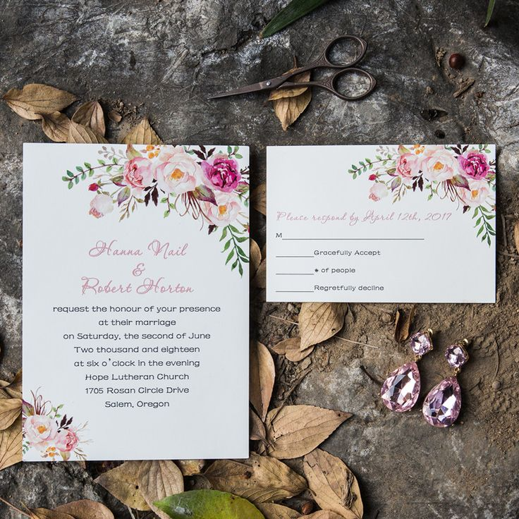 second wedding invitation verbiage%0A Reception Card  Response Cards  Floral Wedding Invitations  Bohemian  Weddings  Note    Summer Fall  Envelopes  Coral
