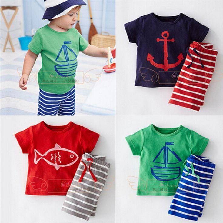 DT0233 Baby Boys Summer Clothing Set Boat Anchor Fish