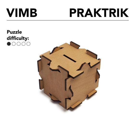 VIMB puzzle money box flat pack laser cut magic box by PRAKTRIK
