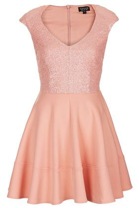 Sequin Bodice Skater Dress - Going Out Dresses - Dresses  - Clothing