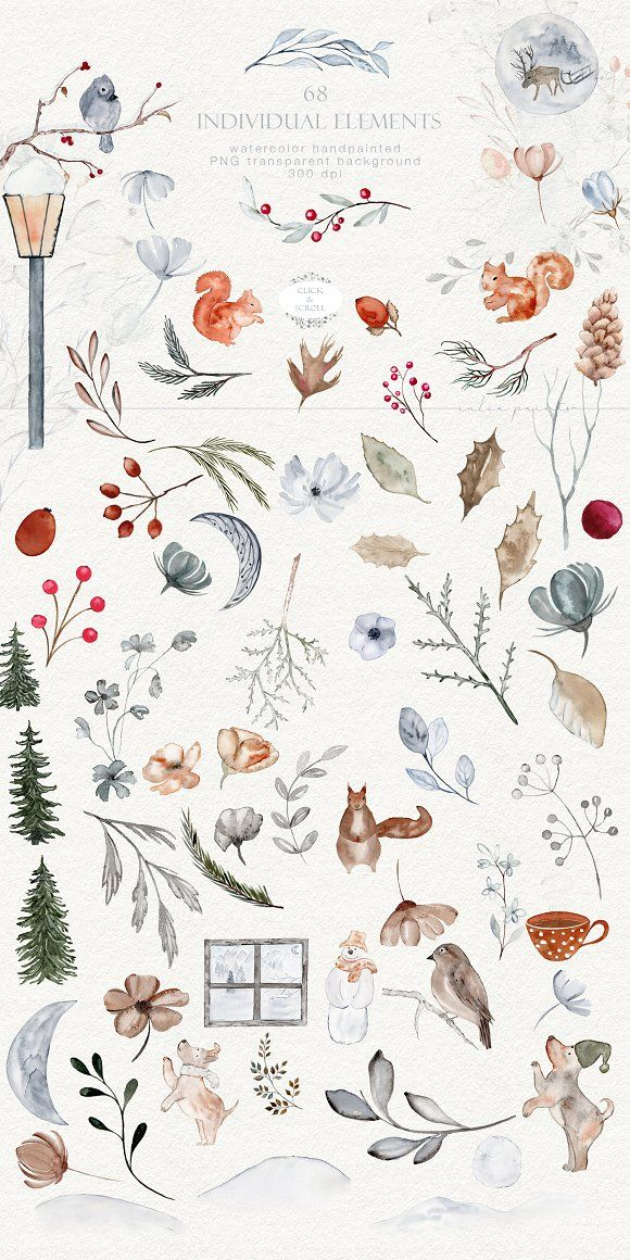 Fall in Winter - Watercolor Graphics - Objects