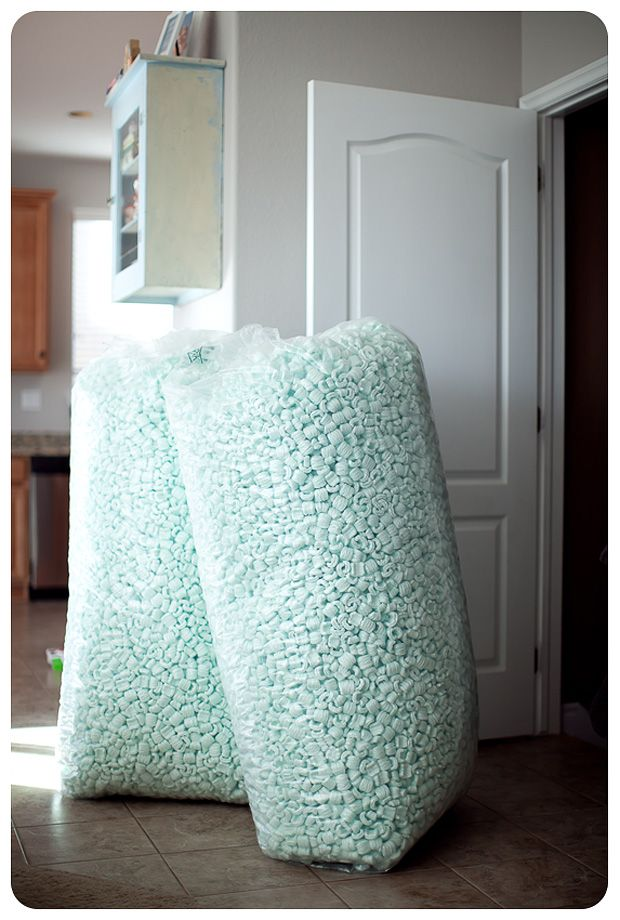 use packing peanuts for bean bag filler - have to remember this when the kids bean bags go flat