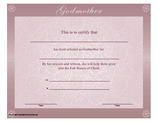 a religious purple bordered godmother certificate with the sentiment by her prayers