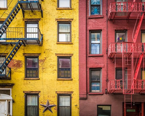 New york photography yellow red apartment building soho for Nyc greenwich village apartments