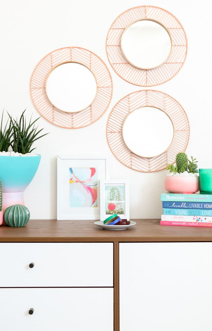 DIY Easy Geometric Copper and Wood Mirrors