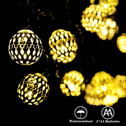 RECESKY Battery Operated Moroccan Ball String Lights 40 LED 25.8ft  Waterproof Lantern Decor Lighting For