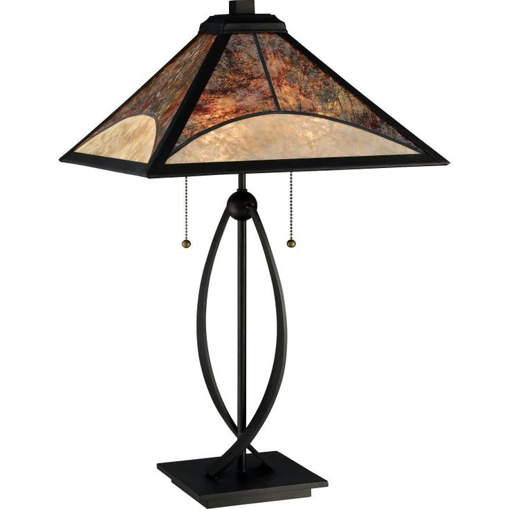 """Quoizel MC2581T Mica 2 Light 25"""" Tall Accent Table Lamp with Mica Tiffany Shade Dark Bronze Lamps Table Lamps Accent Lamps"""