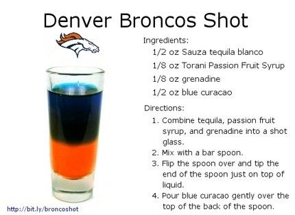 Recipe card for the Denver Broncos tequila shot.