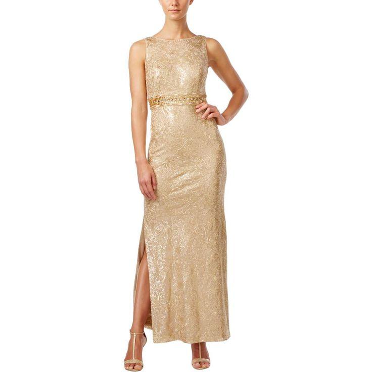Calvin Klein Womens Sequinned Metallic Evening Dress