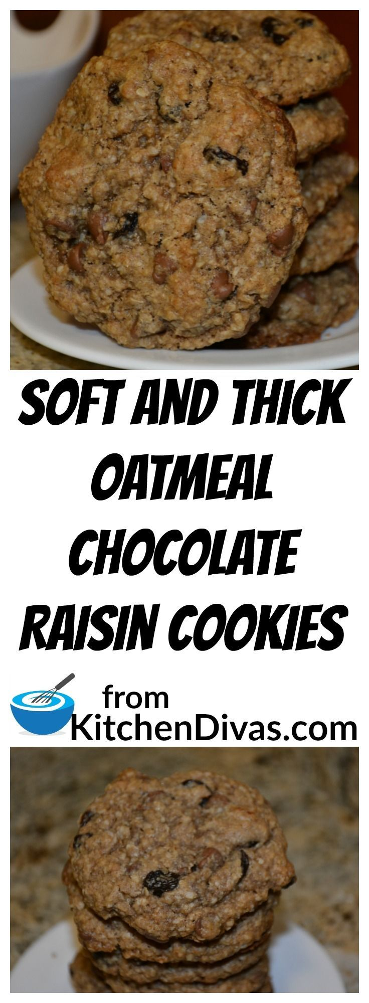 Soft and Thick Oatmeal Chocolate Raisin Cookies always remind me of my…