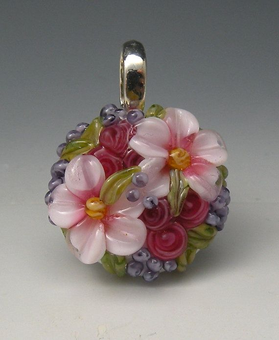 White & Fuchsia Floral Pendant-FREE Shipping in USA-Handmade Lampwork Glass Beads SRA $19.99 Ready to ship for Christmas gifts--FREE SHIPPING