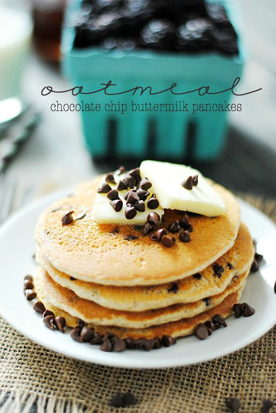 Oatmeal Chocolate Chip Buttermilk Pancakes | Recipe