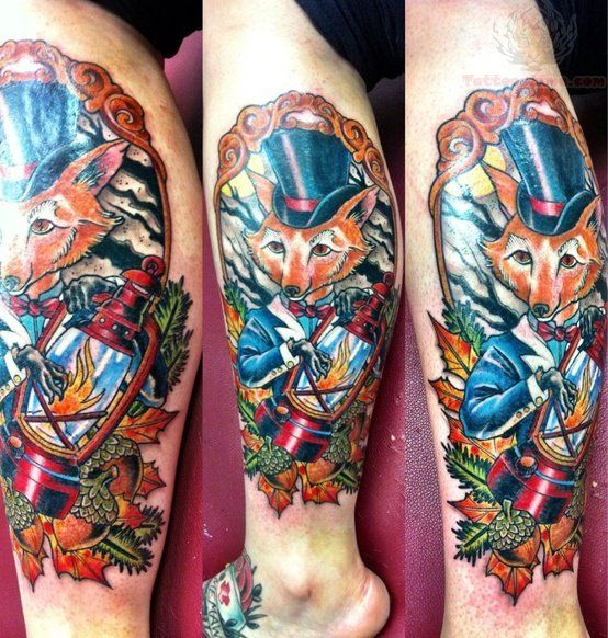 Colorful Fox With Lamp Tattoo On Leg