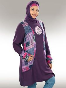 Beautiful jacket pattern tunic floral design embroidery in front purple lace at jacket seams Gathered matching sleeves Utility pockets on both sides Matching Square Hijab (100x100 cm approx.) and Band can be bought separately.