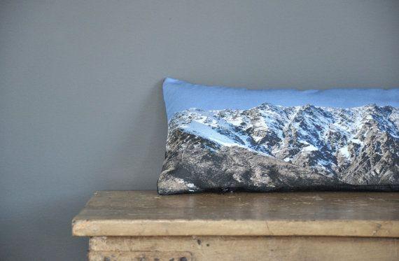 Mountain range lumbar cushion, photo throw cushion, Remarkables, Queenstown New Zealand snowy mountains, long cushion, wilderness pillow