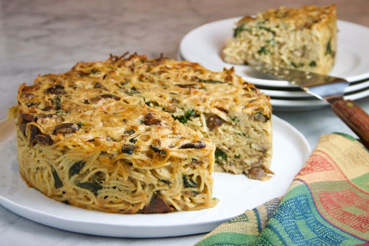 Spaghetti Pie with Wild Mushrooms & Spinach   thebrookcook