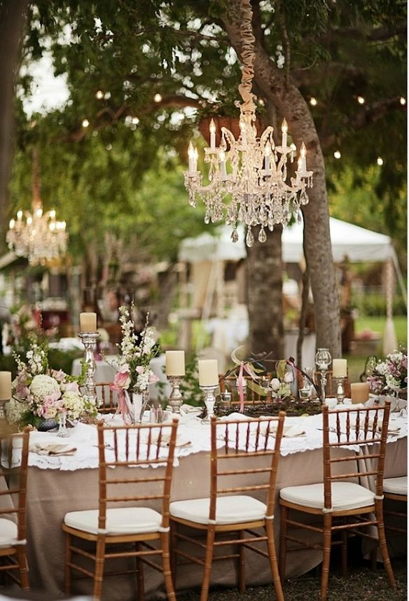 Best 25 rustic outside wedding ideas on pinterest for Rustic outdoor chandelier