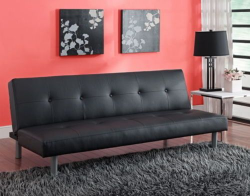 Contemporary Foldable Futon Living Room Furniture Two Seater Faux Leather  Black Part 70
