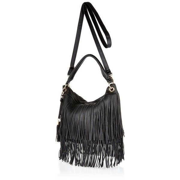 River Island Black fringe bucket handbag (190 BRL) ❤ liked on Polyvore  featuring bags 1157dec5f1939