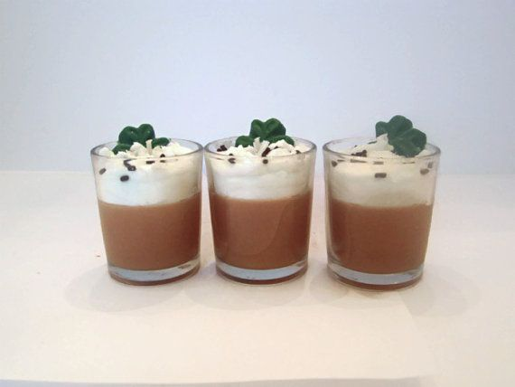 Specifics:  * 3 votive candles - each 3 ounces each  * Topped with whipped wax, chocolate sprinkles and a shamrock  * Scented with Baileys Irish Cream fragrance oil