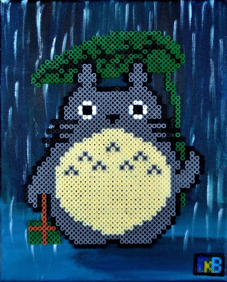 "Handmade Totoro picture ""Totoro in the rain"" made with acrylic paint and hama beads by FrikiBeads"