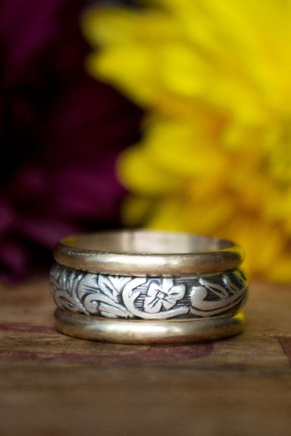 Sterling Silver and 14k Gold Women's Wedding Band by BuffaloLucy