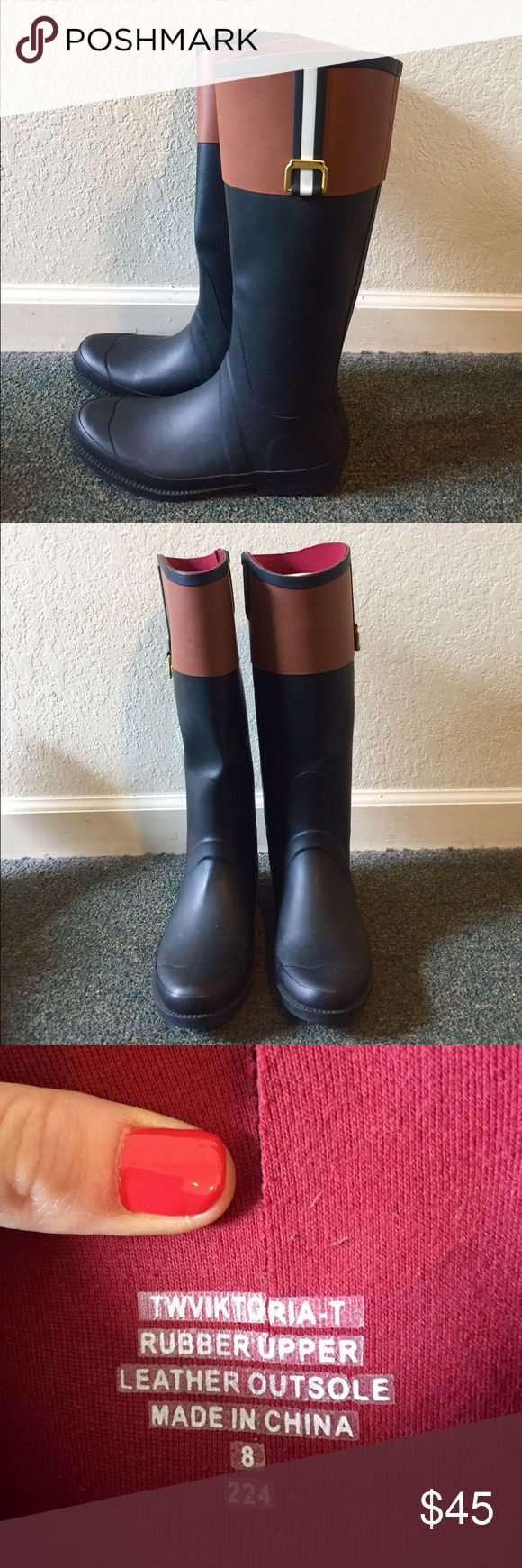 Tommy Hilfiger Rain Boots Tommy Hilfiger size 8 rain boots, black and brown- great condition Tommy Hilfiger Shoes Winter & Rain Boots