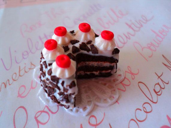 Dollhouse Miniature Food  Sweet Black Forest Cake  by EVELjewlery