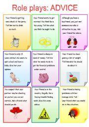 English worksheet: Role plays ADVICE