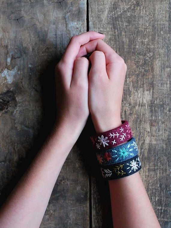 Hey, I found this really awesome Etsy listing at https://www.etsy.com/listing/208106548/felt-bracelet-set-felt-cuff-bracelet-set