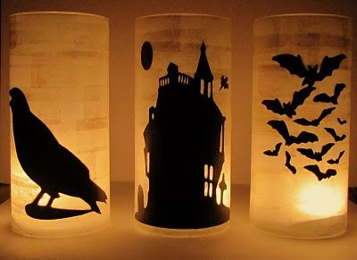 Halloween Luminaries - $tree clear cylindrical vase + black construction paper/card stock shilouette cutouts + mod podge + votive = spooky but adorable decorations