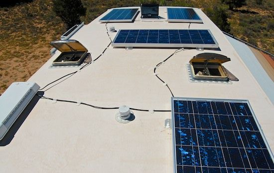 RV solar panels on fifth wheel trailer