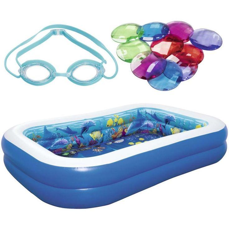 Outdoor 778L Inflatable Pool Under The Sea Design 2 3D Googles Crystals Vinyl