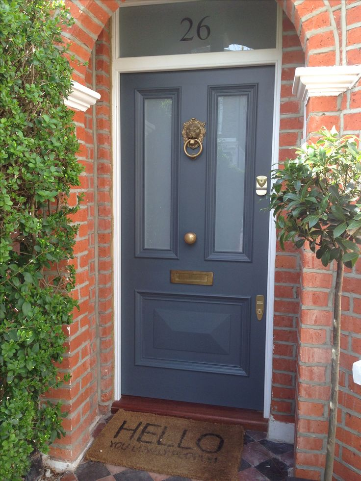 Gorgeous Victorian front door in Farrow & Ball's Downpipe with Voysey &  Jones Vintage door furniture