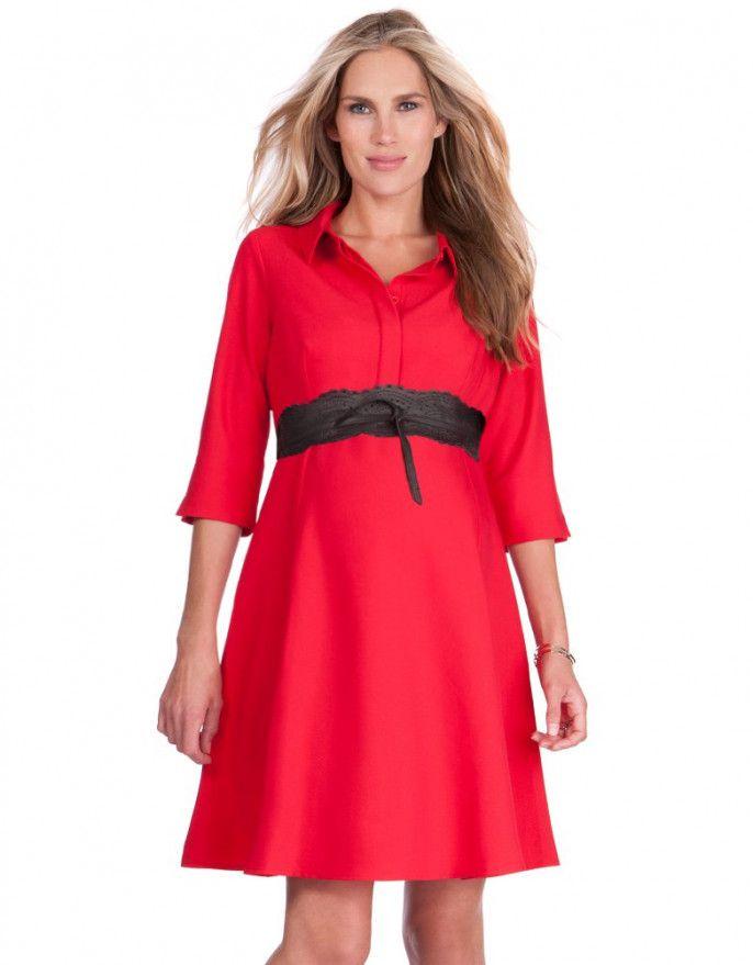 Red Woven Shirt Dress  $82