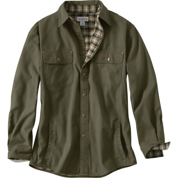 Carhartt Men's Weathered Canvas Shirt Jacket, Size: XXXL, Green