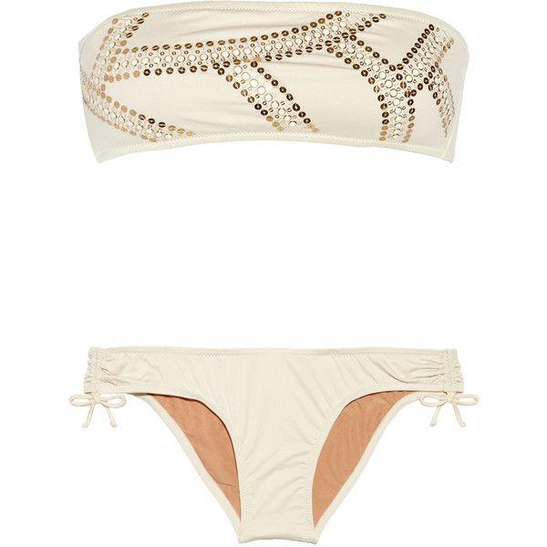 Babajaan Amandy embellished bandeau bikini (7.740 RUB) ❤ liked on Polyvore featuring swimwear, bikinis, bikini, swimsuits, bathing suits, swim, cream, halter bathing suit, swim suits and bandeau top bikini